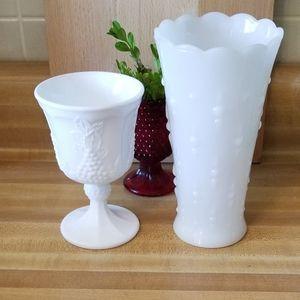 💖💖Milk Glass  Vase and Goblet💖💖